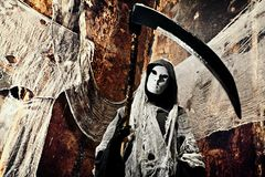 Halloween. Frightening death in an abandoned house. Halloween, horror Royalty Free Stock Photo