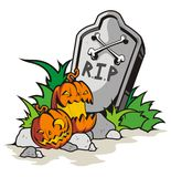 Halloween. Vector happy halloween, whith grave and pumpkin Royalty Free Stock Photo
