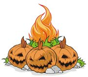 Halloween. Vector halloween, whith pumpkins and fire Stock Photography