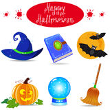 Halloween. Icon set vector elements collection illustration Royalty Free Stock Photos