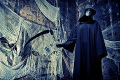 Halloween. Frightening death in an abandoned house. Halloween, horror Stock Images