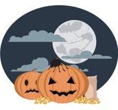 Halloween. Pumpkins waiting for the kids Stock Photo