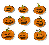 Halloween. Set of halloween pumpkins, this illustration may be useful as designer work Royalty Free Stock Images