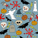 Halloween. Seamless pattern with Halloween icons and symbols. Scary background doodle Royalty Free Stock Photography