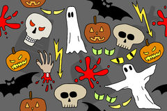 Halloween. Seamless pattern with Halloween icons and symbols. Scary background doodle Royalty Free Stock Photo