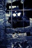 Halloween. Scary alien creature in an abandoned house. Halloween, horror Stock Photos