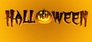Halloween. Word with  pumpkin. Clipping path included for easy selection Stock Image