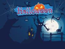 Halloween. In the dark forest stock illustration