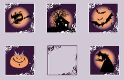 For Halloween. Design elements of witch, bats, pumpkin for Halloween Royalty Free Stock Image