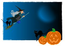 Halloween. Witch and black cat. Pumpkin moon.   postcard Stock Images