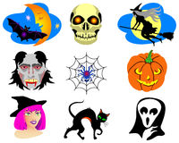 Halloween. Icons. Pumpkin, witches and something else Royalty Free Stock Image
