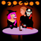 Halloween. Dressed couple is celebrating Halloween party Royalty Free Stock Images