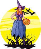 Halloween. Vector illustration of halloween witch with cat Royalty Free Stock Photo