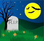 Halloween. Background with tomb stone on the hill Stock Photos