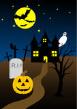 Halloween. Background with old hunted castle Royalty Free Stock Images