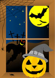 Halloween. Background with pumpkin, ghost and bats Royalty Free Stock Image