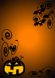 Halloween. Background for halloween with a funny pumpkin and bats royalty free illustration