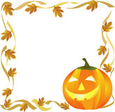 Halloween. Pumpkin and autumn leaves forming a frame Royalty Free Stock Images