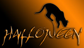 Halloween. Banner with cat - Orange Royalty Free Stock Images
