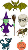 Halloween. Illustrations, including pumkin, witch, bat, cat, skull and spider royalty free illustration