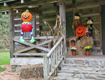 Halloween!. Halloween Decorations on a Front Porch Stock Photo