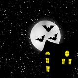 Halloween. Bats on background with moon, sun Royalty Free Stock Image