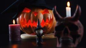 Halloween Abóbora, crânio, bruxa, vela Câmera estática filme
