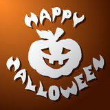Halloween Abóbora e o corte superficial das palavras do papel Imagens de Stock Royalty Free