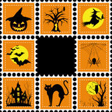 Halloween-Abbildungset des Stempels Lizenzfreies Stockfoto