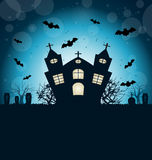 Halloween Abstract Background. Illustration Halloween Abstract Background with Castle, Bats, Cemetery. Copy Space for Your Text - Vector stock illustration