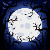 Halloween abstract background with moon and scary tree brushes. Royalty Free Stock Photography