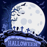 Halloween abstract background with moon and tree on cemetery. Halloween Party design template. Vector vector illustration