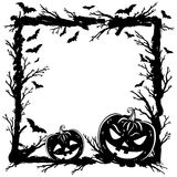 Halloween abstract background with pumpkins, tree branches. And bats. Halloween Party template. Vector stock illustration