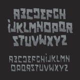 Halloween abstract font. Zombie style alphabet. Cartoon evil ABC. Vector logo set. Stock Photography