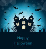 Halloween Abstract Greeting Card. Illustration Halloween Abstract Greeting Card with Castle, Bats, Cemetery - Vector vector illustration