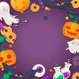 Halloween-achtergrond met beeldverhaalkarakters Stock Afbeeldingen