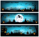 Halloween-achtergrond met begraafplaats, knuppels en kasteel Royalty-vrije Stock Afbeelding