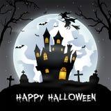 Halloween-achtergrond met begraafplaats, knuppels en kasteel Stock Afbeelding