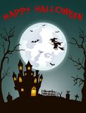 Halloween-achtergrond met begraafplaats, knuppels en kasteel Royalty-vrije Stock Foto