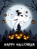 Halloween-achtergrond met begraafplaats, knuppels en kasteel Stock Foto's