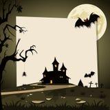Halloween-achtergrond met de herfstlandschap Stock Afbeelding