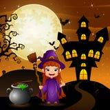 Halloween-achtergrond met de holdingsbezemsteel en ketel van de meisjesheks Royalty-vrije Stock Foto