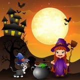 Halloween-achtergrond met de holdingsbezemsteel van de meisjesheks en ketel en katjesheks Stock Fotografie