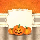 Halloween-achtergrond met etiket en pompoenen Royalty-vrije Stock Afbeelding