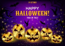 Halloween-achtergrond met gouden pompoenen Stock Afbeeldingen