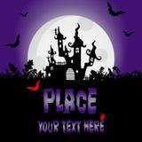 Halloween-achtergrond met griezelige Huis en nachtknuppels, ontwerp Gr stock illustratie