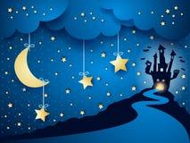 Halloween-achtergrond met kasteel en maan Stock Afbeeldingen
