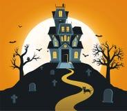 Halloween-achtergrond met kasteel en volle maan, graven, bomen, knuppels vector illustratie