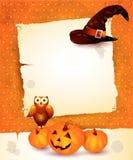 Halloween-achtergrond met leeg document Stock Afbeeldingen