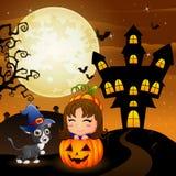 Halloween-achtergrond met meisje in mandpompoen en katjesheks Stock Fotografie